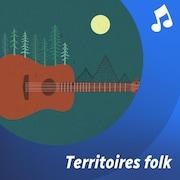 La silhouette d'un cervidé, en forêt, entourée d'illustrations d'instruments de musique.