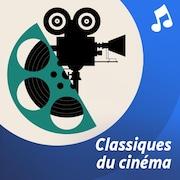 Une illustration d'une caméra entourée de notes de musique.