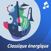 La liste d'écoute Classique énergique. Un chef d'orchestre dirige et sa baguette provoque des éclats lumineux.