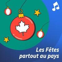 Devant un feu de foyer : deux pieds avec des bas rouges arborant des logos de Radio-Canada.