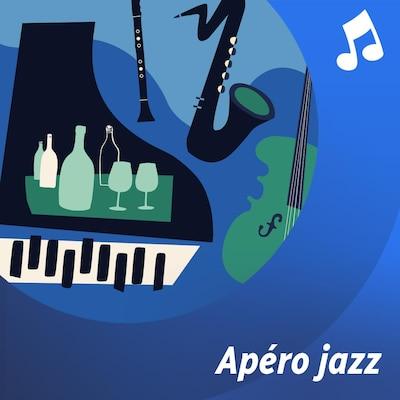 Une illustration de divers instruments de musique. Une clarinette, une contrebasse, un piano et un saxophone.